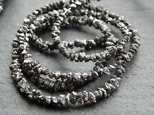 "BLACK DIAMOND NUGGETS / CHIPS, graduated 2.2mm - 3mm, 16"", 240+ beads, 20ctw"