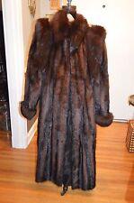 full length long sable brown striped mink fox fur trim coat