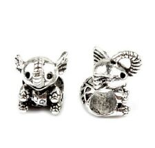 STERLING SILVER FINISH ELEPHANT CHARM BEAD FOR BRACELET OR NECKLACE