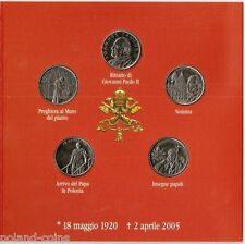 MALTA - ORDER OF SET OF 5 DIFFERENT COINS 1 LIRA 2005 POPE JOHN PAUL II BU