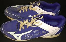Jeimer Candelario Chicago Cubs Signed 2015 Game Used Cracked Cleats Spikes A