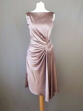Karen Millen dress Satin Ruche Wiggle cocktail dusky pink UK 8