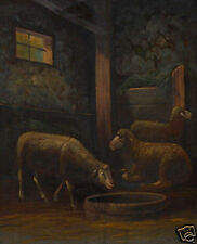 L. Minnich (19th Century)Wonderful Restored Oil Painting of Sheep in Barn 1800's