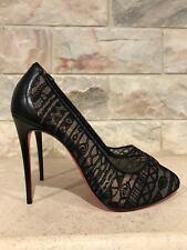NIB Christian Louboutin Dorissima 100 Black Lace Kid Leather Pump Heel 37 $795