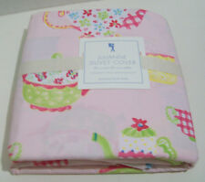 Pottery Barn Kids Pink Floral Teapot Cup Julianne Full Queen Duvet Cover New