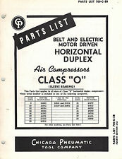 """CHICAGO PNEUMATIC VINTAGE  CLASS """"O"""" AIR COMPRESSORS PARTS  MANUAL 1952"""