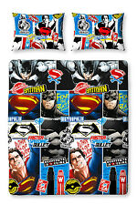 DOUBLE BED DUVET COVER SET BATMAN VS SUPERMAN DAWN OF JUSTICE REVERSIBLE