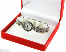 Womens Vintage Marcasite Crystal Silver Tone Mother of Pearl Rope Design Watch