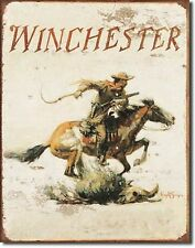 Winchester Guns Ammo Cowboy Horse Box Metal Sign Tin New Vintage Style USA #1421