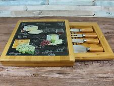 Bamboo wood cheese glass top board box & cutters set with drawer