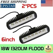 2X 18W LED Work Light Bar Flood Beam Offroad Jeep Boat Cars Fog 4WD Driving Lamp