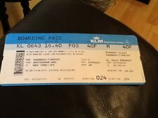 KLM AIRLINES OLD USED BOARDING PASS PASSENGER AND FLIGHT DETAILS 2009