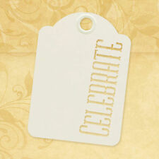 Graphic45 Staples-CELEBRATE (10) IVORY STENCIL-CUT ATC TAGS scrapbooking