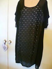 Taking Shape TS-14+ ~ Size 22 ~ Black Tunic - front Cutout Blush underlay