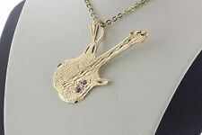 14K Yellow Gold Michael Anthony Ruby & Diamond Accent Guitar Charm Pendant