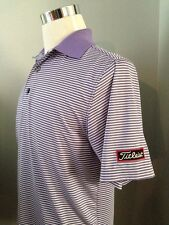 New FOOTJOY TITLEIST Polo Shirt Purple White Striped Golf Shirt Size Large Tour