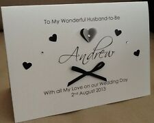 Handmade Personalised Large Husband to Be / Wife to Be On Our Wedding Day Card