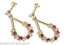 9ct Gold Ruby drop Earrings Made in UK Gift Boxed