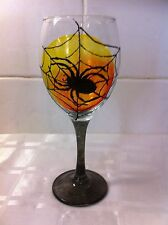 Hand Painted Gothic Spider And Web Large Wine Glass With Yellow And Orange Moon