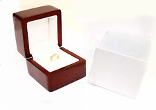 1 pcs Solid Cherry Polish Wood / White leather Engagement jewelry ring box