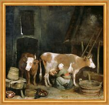 A Maid Milking a Cow in a Barn Gerard ter Borch Kühe Melken Stall B A1 02062