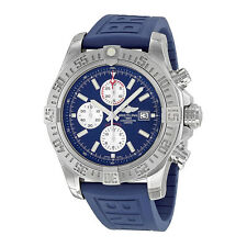 Breitling Super Avenger II Automatic Chronograph Blue Rubber Strap Mens Watch