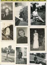 (23) Vintage 1940's photo lot / YOUNG WOMEN '40's Clothing & Hair OLD SNAPSHOTS