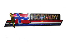 NORWAY LONG COUNTRY FLAG  METALLIC BUMPER STICKER DECAL .. 11.75 X 3 INCH