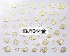Oro Mar Conchas Estrellas De Mar 3d Arte De Uñas Etiqueta calcomanías Uv Gel Tips De Decoración