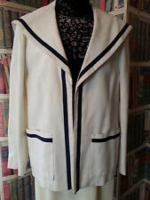 Vtg  Nautical Sailor Look Jacket White w/ Navy Trim Mollie Parnis Boutique