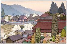 Yoshida Toshi JAPANESE Woodblock Print SHIN HANGA - Village of Plums