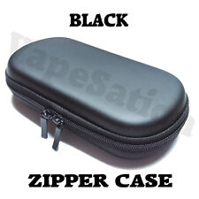 New Black Double Zipper Vaporizer Case Medium Size Leather Smooth No Name Plate
