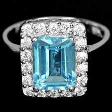 Sterling silver 925 Genuine Emerald Cut Swiss Blue Topaz Ring Size N (US 6.75)