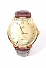 W348 MEN'S OMEGA BUMPER SUB SECOND AUTOMATIC 14K GOLD FILLED WRISTWATCH.