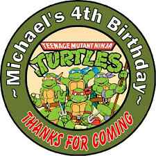 24 NINJA TURTLES PERSONALIZED BIRTHDAY THANK YOU PARTY STICKERS FAVORS LABELS #2