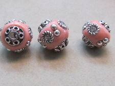 3  PInk Silver Clear Rhinestones  Indonesia 14mm Beads(K37K26)