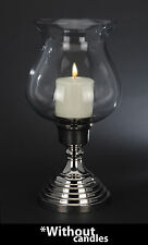Beautiful Large Silvered Metal & Glass Candle Holder Hurrican Candle Holder