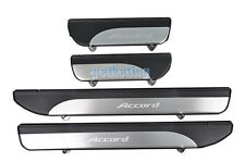 4 Pcs Stainless Door Sill Plate Guard for Accord 2013-2014 Silver+Black