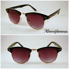 Classic retro 1980's Fashion vintage black gold rim clubmaster sunglasses
