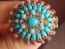 Antico Vintage Gioielli splendido Turchese Cabochon & Ruby Strass Spilla Pin