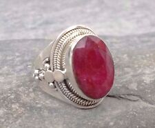 Large 925 Silver Cut RUBY Ring Sz M-6 R645~Silverwave*uk Jewellery