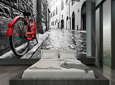 Red Bicycle Black White Town City Wall Mural Photo Wallpaper GIANT WALL DECOR