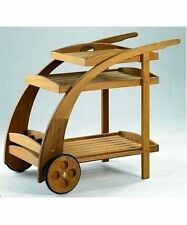 TEAK WOOD TROLLEY CART w/ SERVING TRAY & BOTTLE RACK PATIO OUTDOOR FURNITURE NEW
