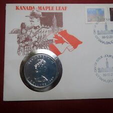 CANADA 1989 MAPLE LEAF/QUEEN ELIZABETH II, 1 Oz. SILVER COIN, in CANADA POSTCARD