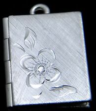 Folding book photo locket - hand engraved sterling silver