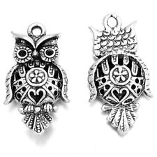 15pcs Vintage Tibetan Silver Tone Hollow Carved Owl Animal Charms Pendant DIY BS