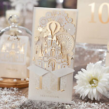 50 Kits Beige Wedding Invtations Cards Invites with romantic Gold Castle Design