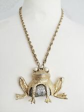 EYES ON YOU **  VINTAGE UNSIGNED FROG ANIMAL NECKLACE WITH PEARL EYES * VTG