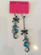 NWT Rare Betsey Johnson Blue Turquoise Mismatch Seahorse Bows Dangle Earrings