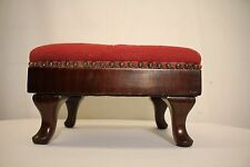 19 th french louis xv mahogany footstool foot rest with original needlepoint